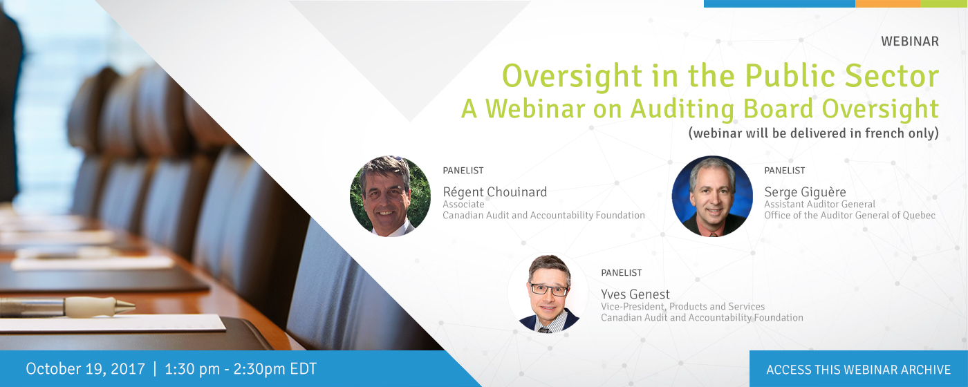Oversight in the Public Sector – A Webinar on Auditing Board Oversight