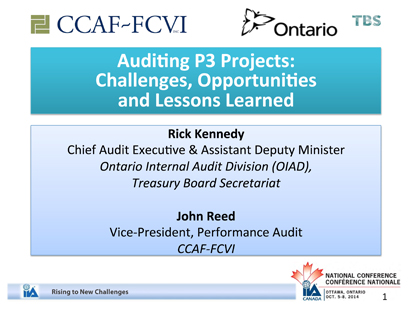 Auditing P3 Projects: Challenges, Opportunities and Lessons Learned